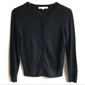 LOFT Black Crewneck Cardigan Sweater Size SP